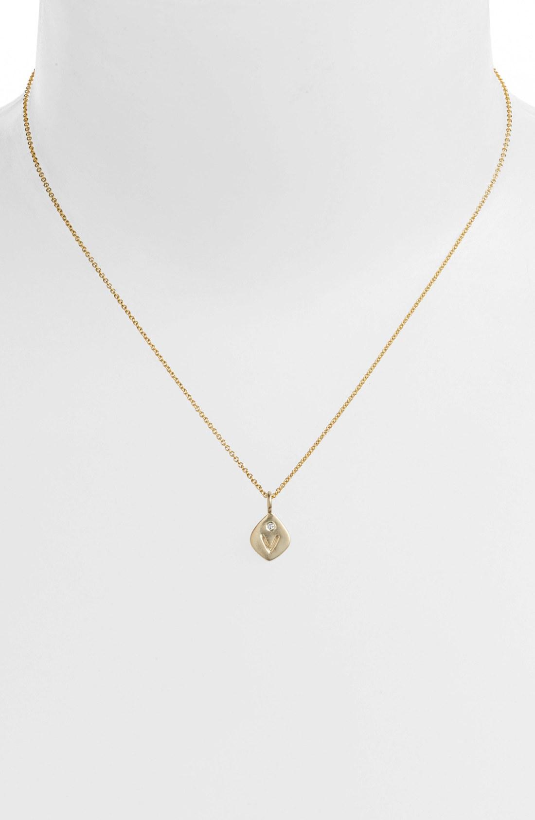 nunu designs small initial pendant necklace in gold v