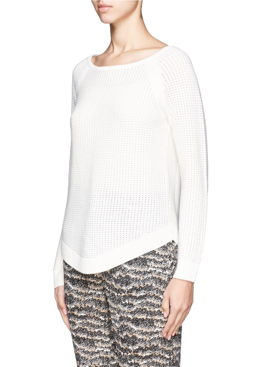 Open Knit Sweater Pattern : Rag & bone Open Knit Sweater in White Lyst