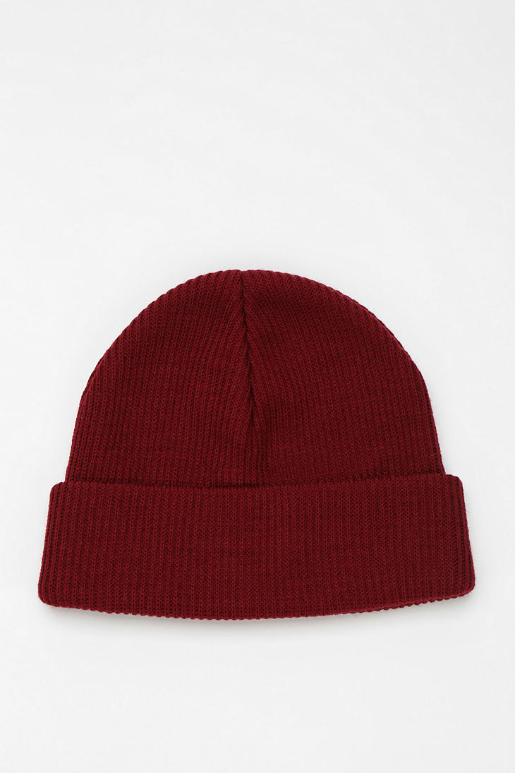 Lyst - BDG Ribbed Knit Cuffed Beanie in Red 3dc938063ec2