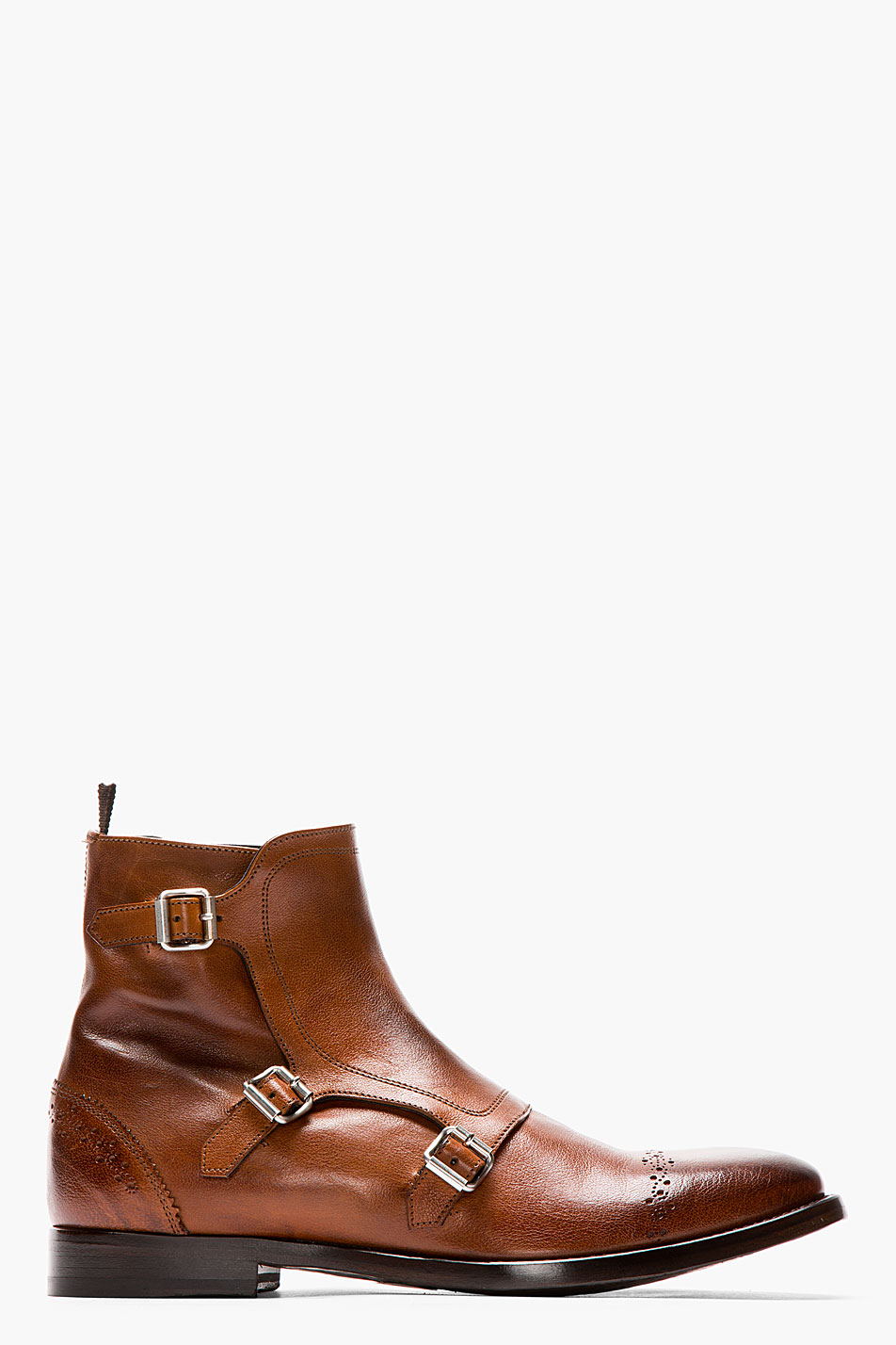 mcqueen brown leather brogued monk strap boots