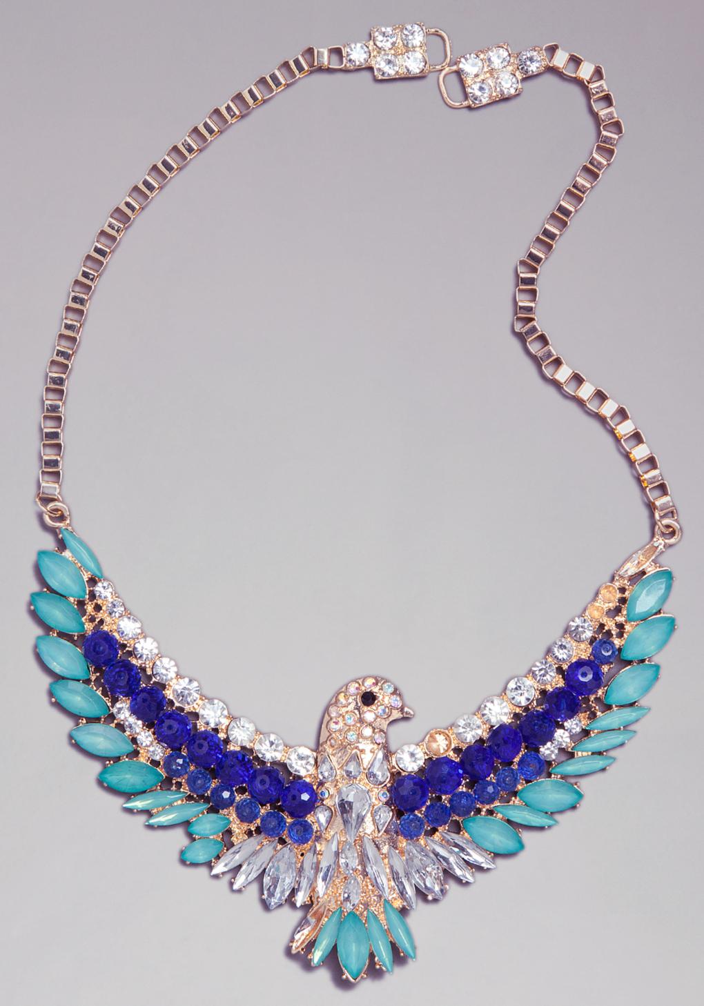 bebe bird necklace in blue multi lyst