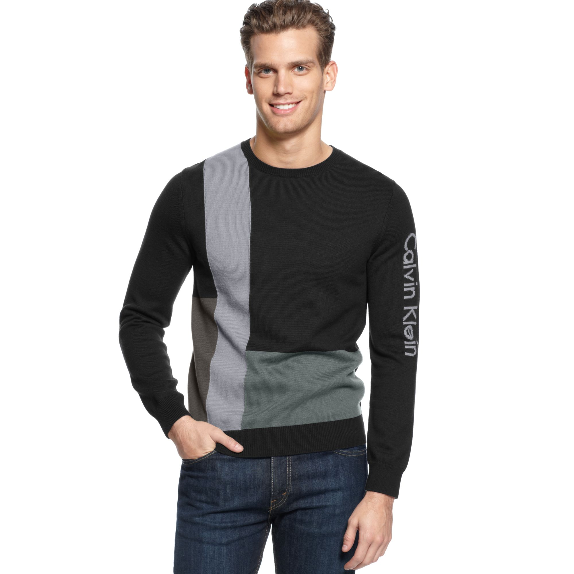 eac1d61eaa Calvin Klein Colorblock Intarsia Sweater in Black for Men - Lyst