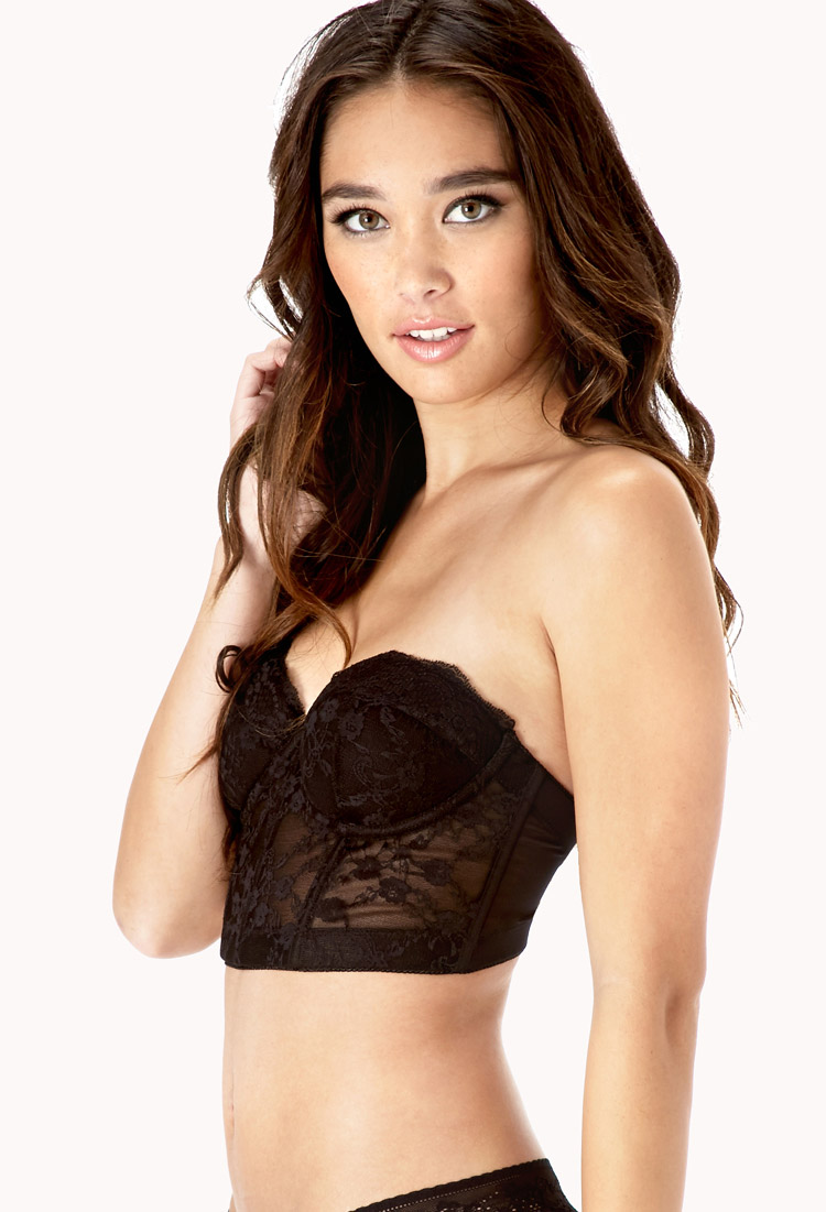 Forever 21 Strapless Lace Corset Bra in Black | Lyst