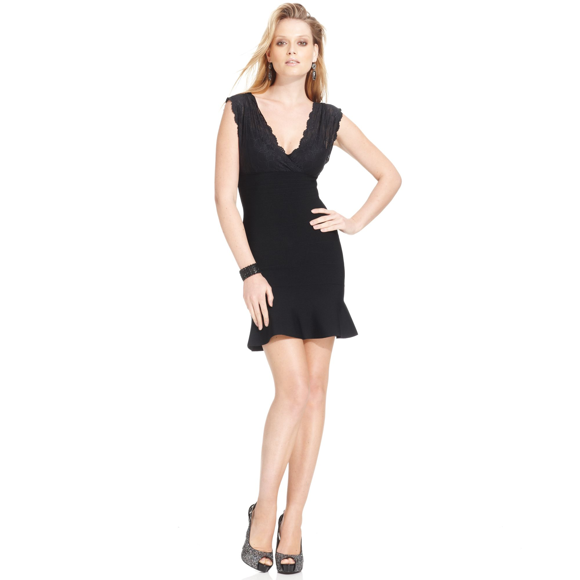 Lyst - Guess Lace Bandage Dress in Black