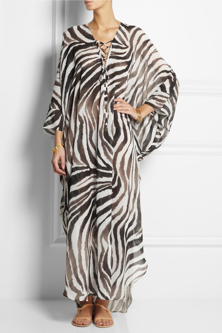 fd393fcac Melissa Odabash Coleen Zebra-Print Chiffon Kaftan - Lyst