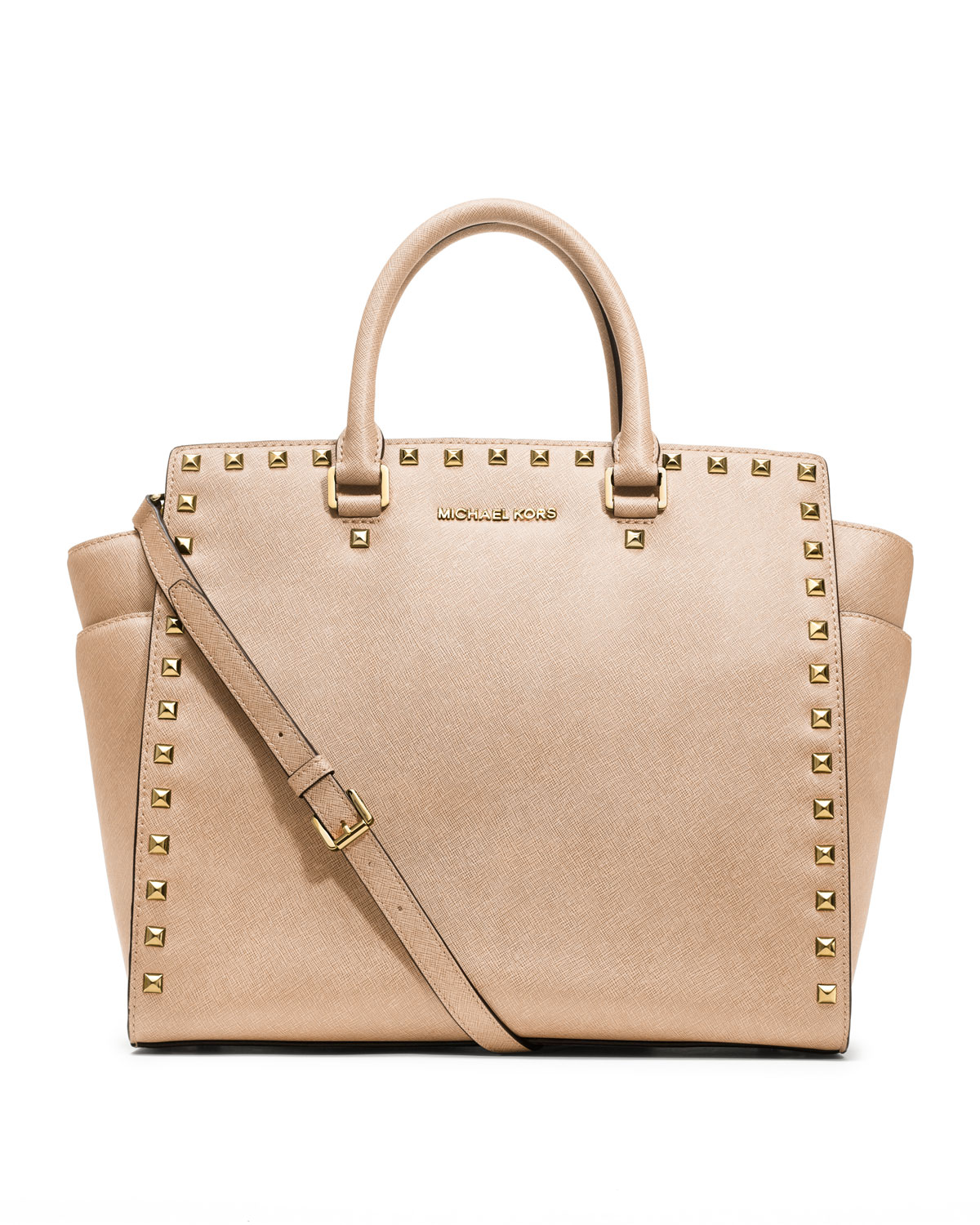 michael michael kors large selma studded saffiano tote in beige dark. Black Bedroom Furniture Sets. Home Design Ideas