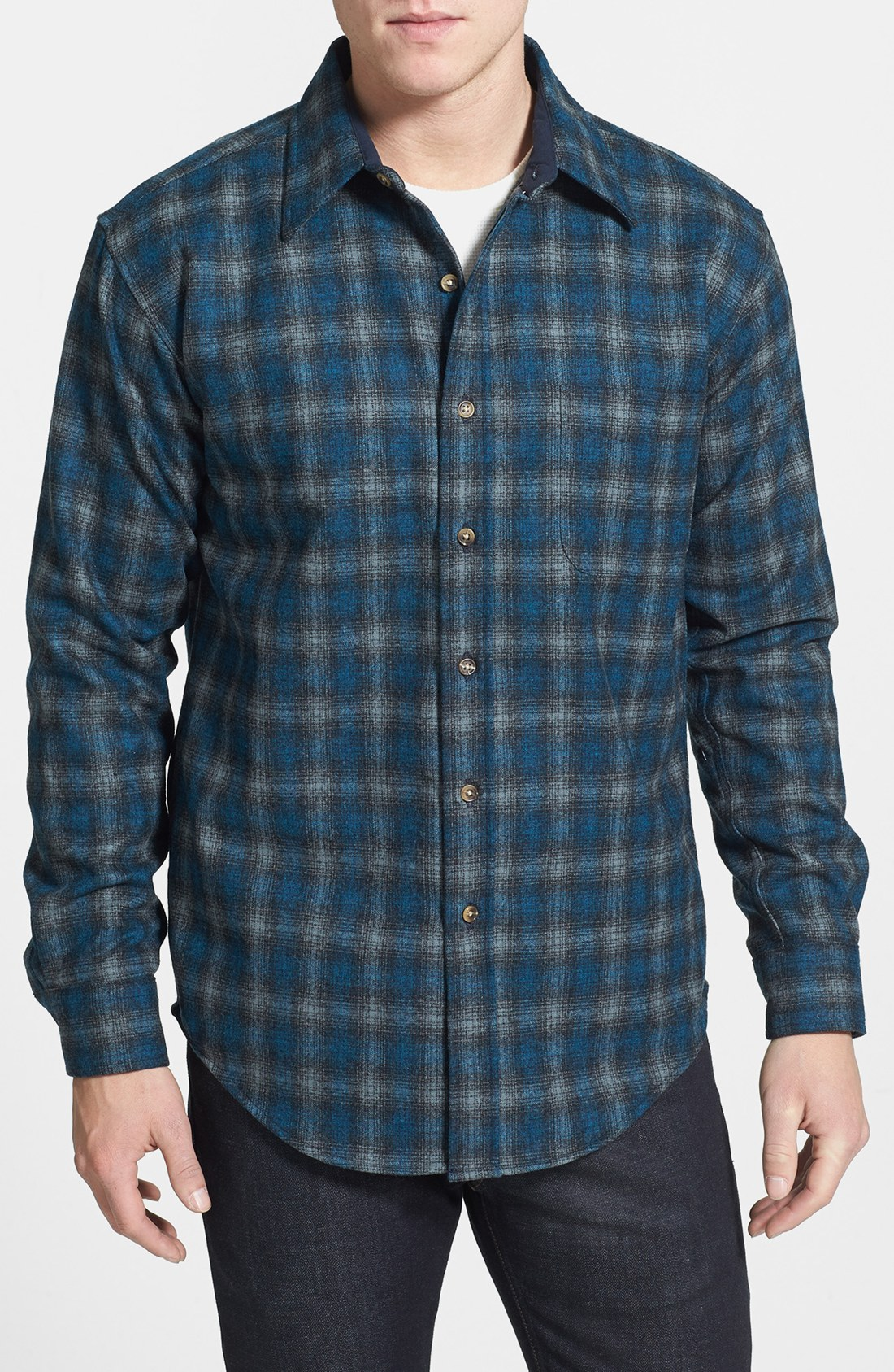 Pendleton lodge fitted virgin wool flannel shirt in blue for Mens wool flannel shirt
