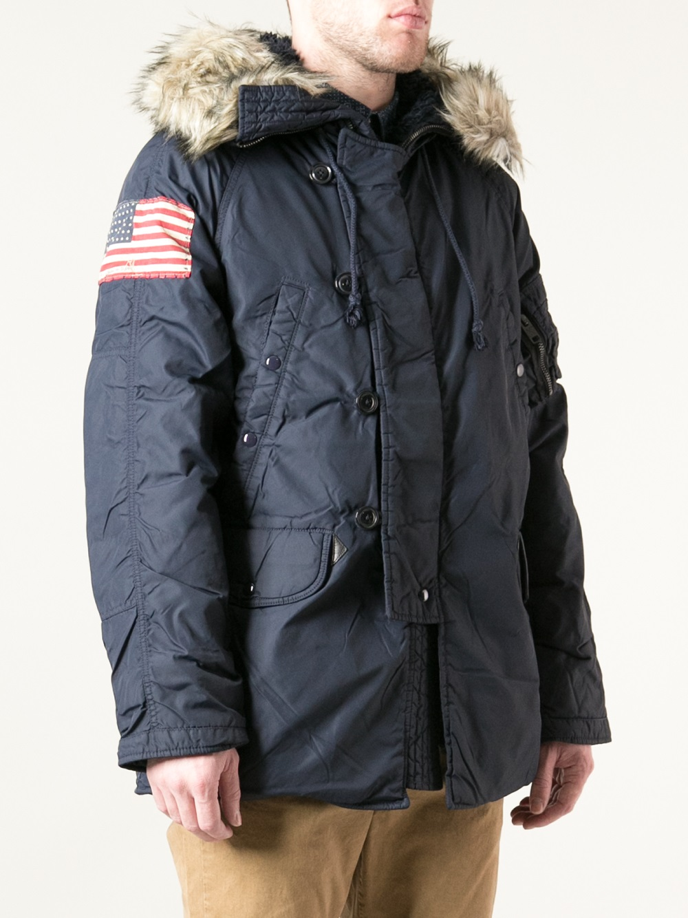 Lyst Ralph Lauren Padded Parka In Blue For Men