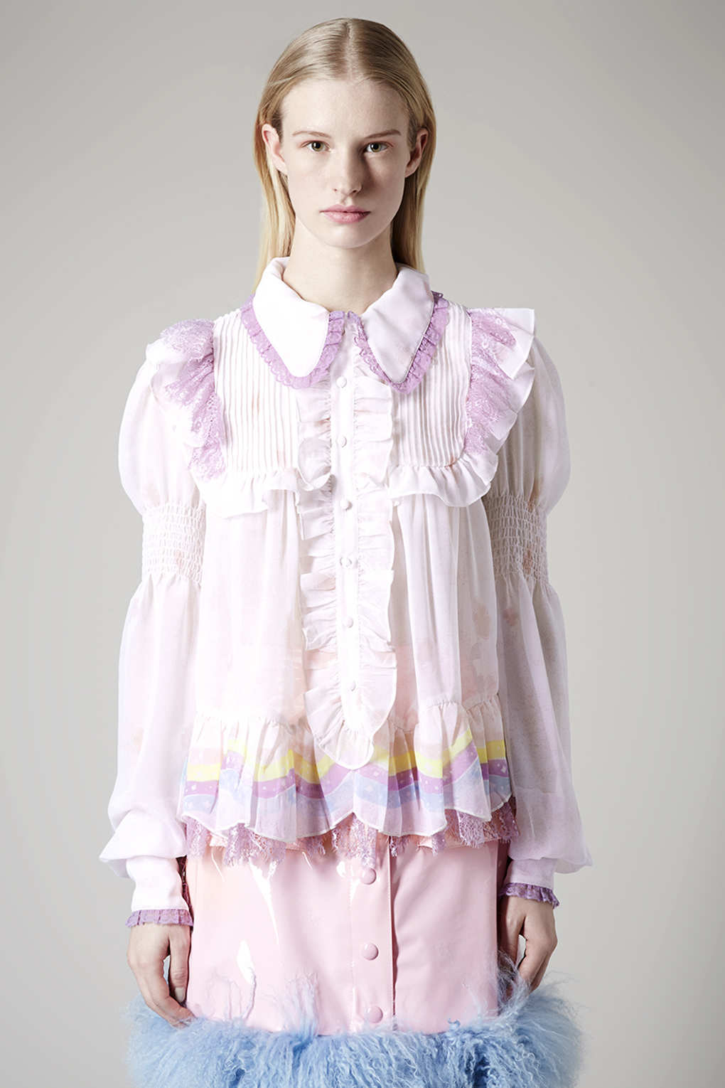 Lyst Topshop Rainbow Frill Blouse By Meadham Kirchhoff