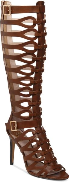 Vince Camuto Omera Tall Gladiator Heel Sandals In Brown
