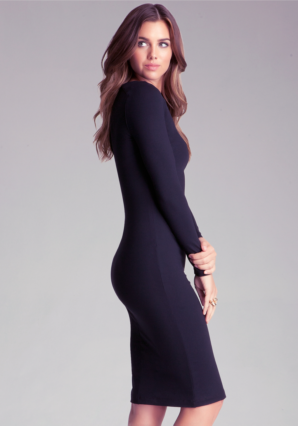 Lyst Bebe Bodycon Midi Dress In Blue