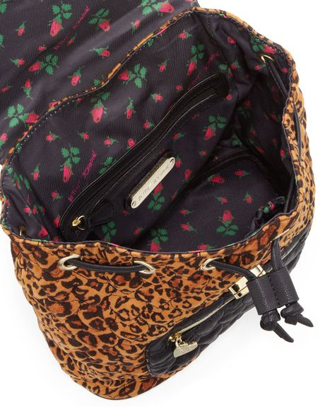 Betsey Johnson Leopardprint Quilted Backpack in Animal