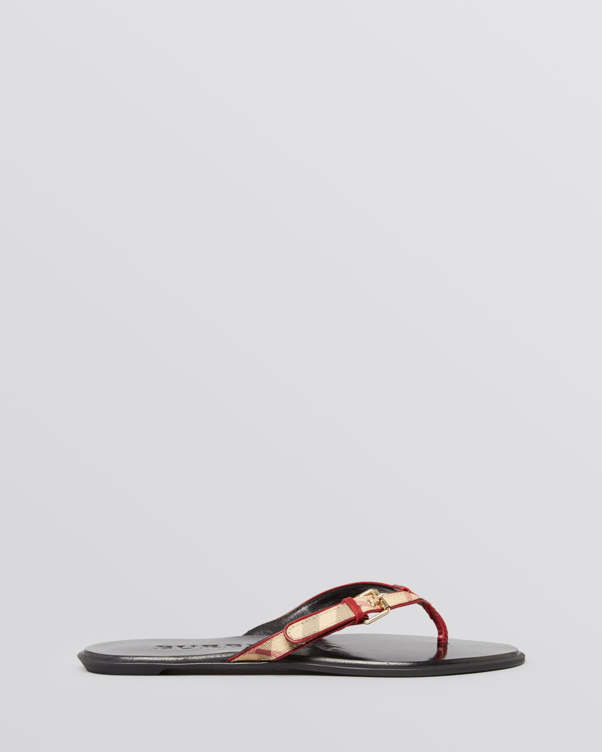 8e6a1f9163f8a Lyst - Burberry Flip Flop Sandals Parsons Check Thong in Red