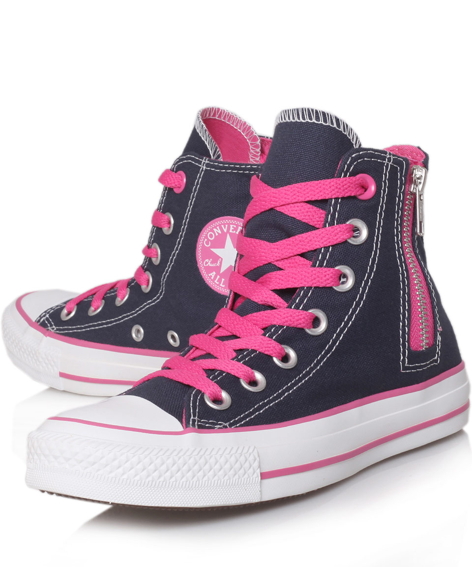 746281f11b89d3 Lyst - Converse Navy Chuck Taylor Side Zip Hi Top Trainers in Blue