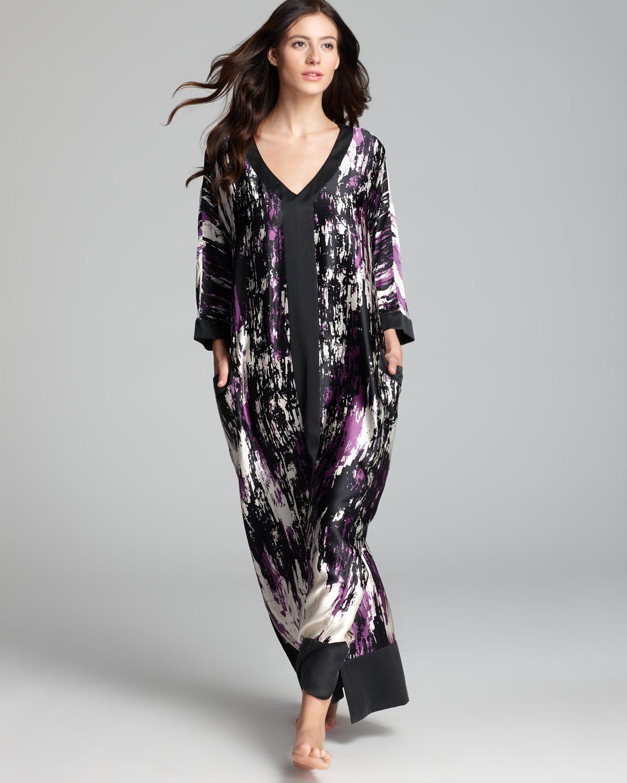 Donna Karan Glamour Printed Silk Caftan Lyst