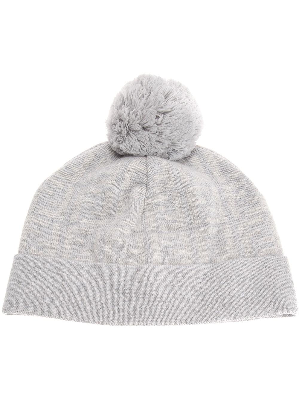 66d06645680 Lyst - Fendi Jacquard Monogram Bobble Hat in Gray for Men