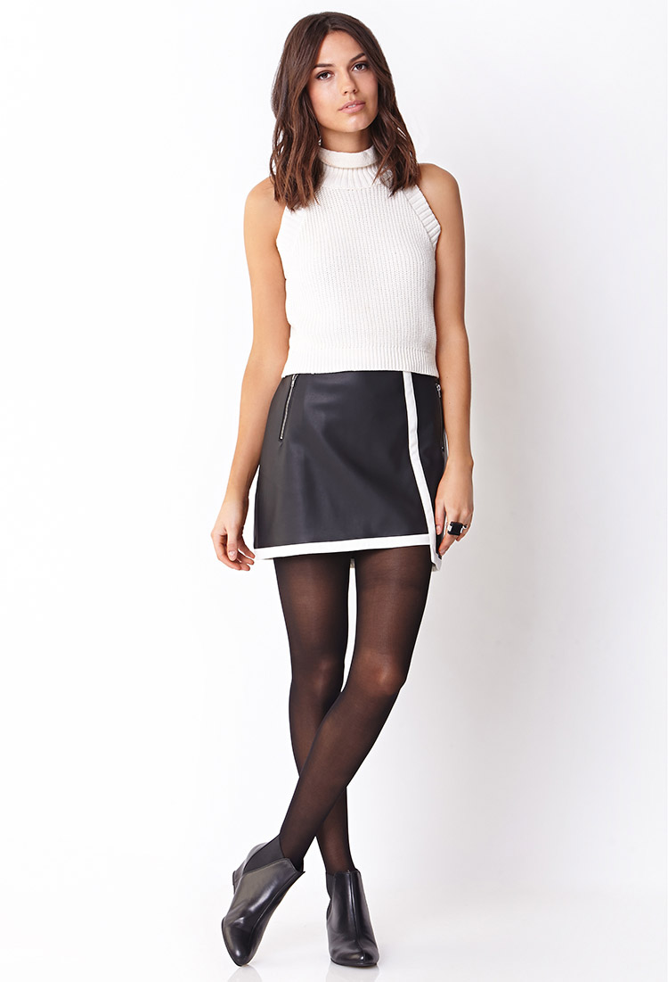 forever 21 contemporary sleek faux leather skirt in white