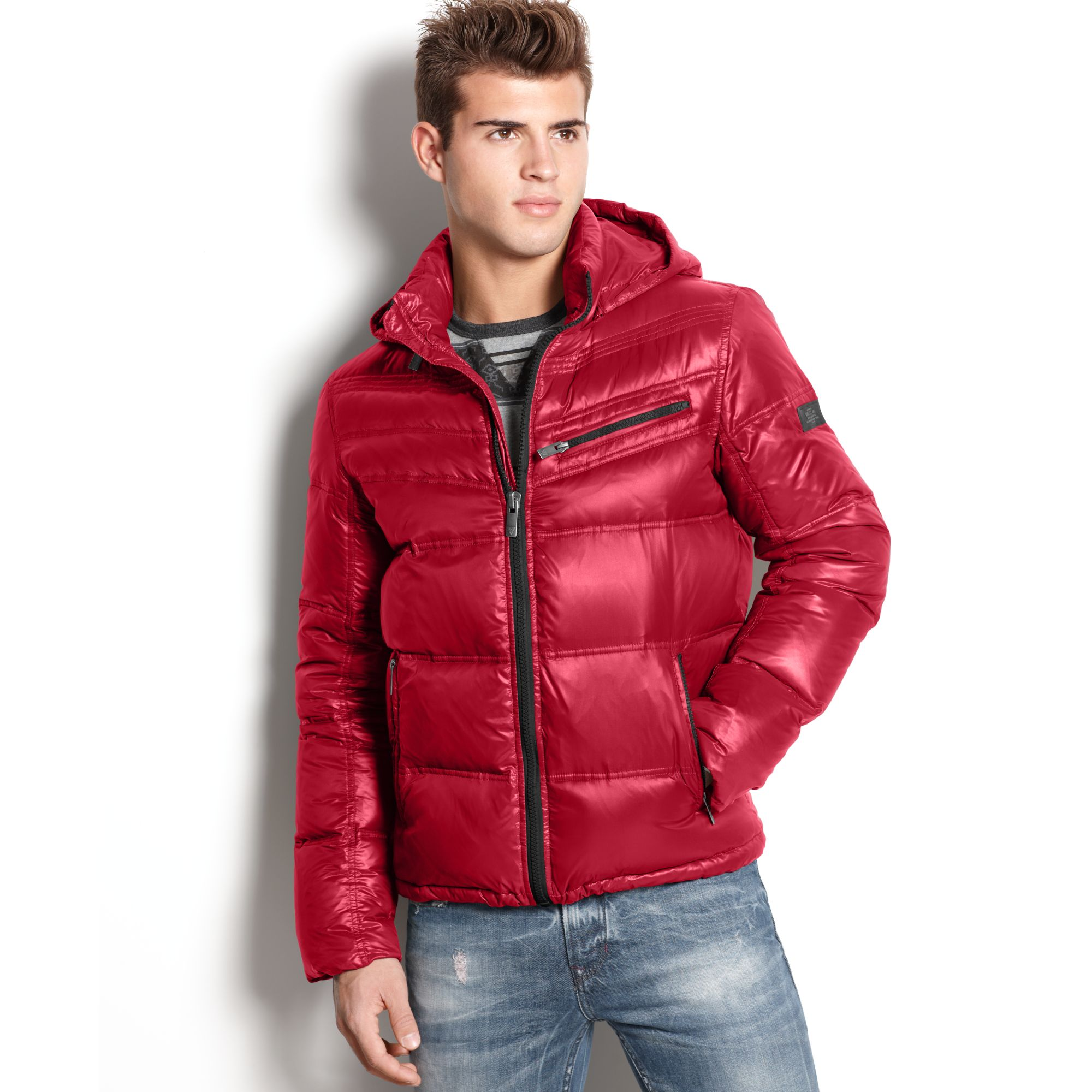 Guess Jacket Chrome Hooded Quilted Puffer In Red For Men