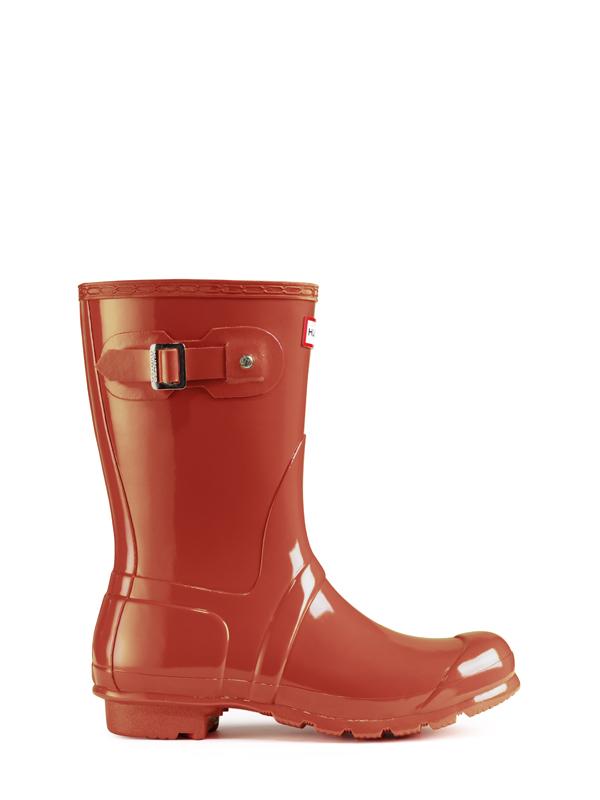 Hunter Original Short Gloss Rain Boots In Red For Men