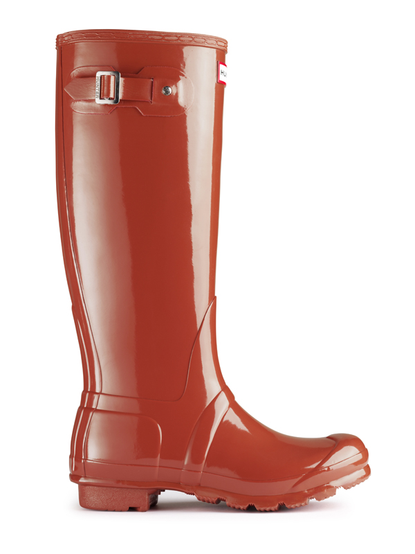 Hunter Original Tall Gloss Rain Boot in Orange for Men | Lyst