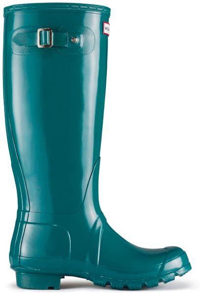 Hunter Original Tall Gloss Rain Boot In Green For Men