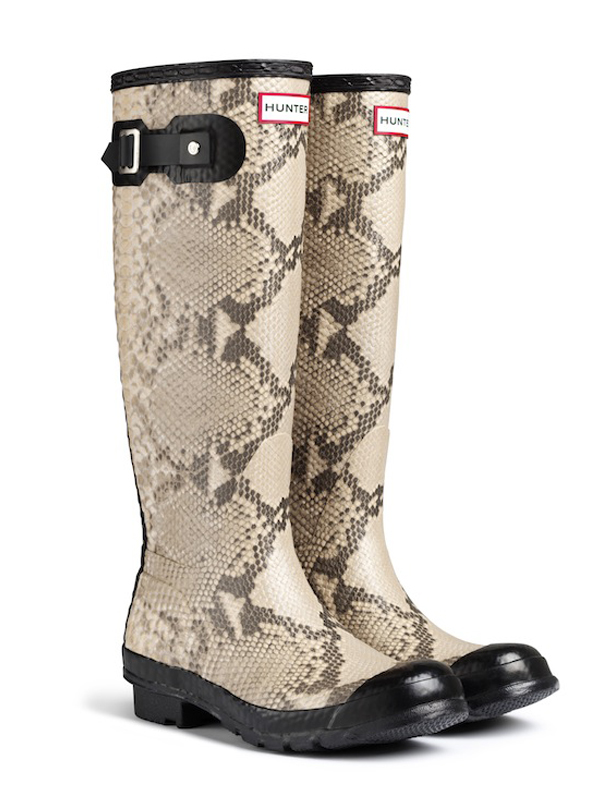 Hunter Carnaby Snake Rain Boots In Natural - Lyst
