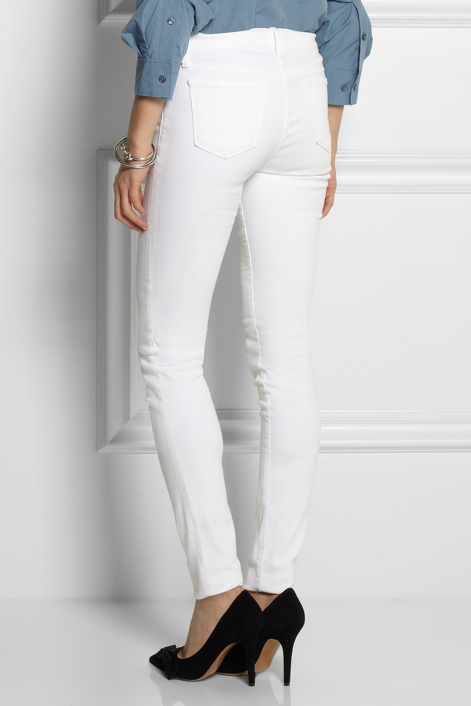 J brand Stacked Skinny Mid-Rise Jeans in White | Lyst