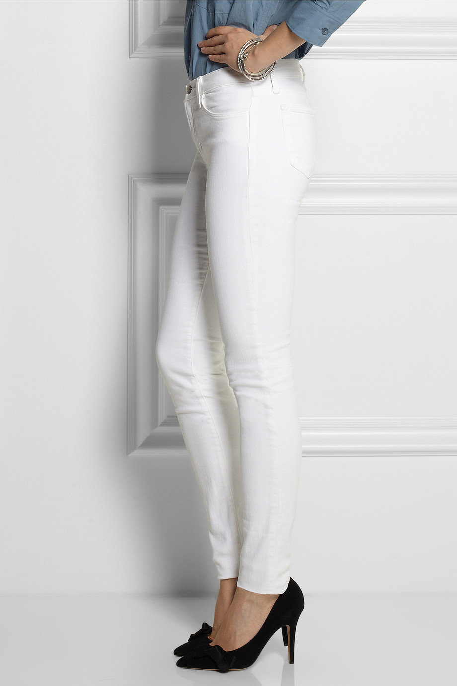J Brand Stacked Skinny Mid Rise Jeans In White Lyst
