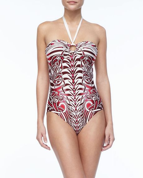 Jean Paul Gaultier Tattoo-Print Halter One-Piece Swimsuit ...
