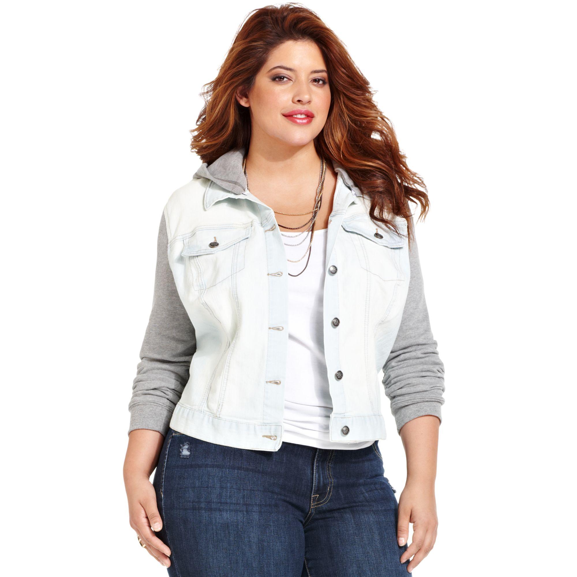 d71c22cdb39 Lyst - Jessica Simpson Plus Size Hoodie Denim Jacket in Gray