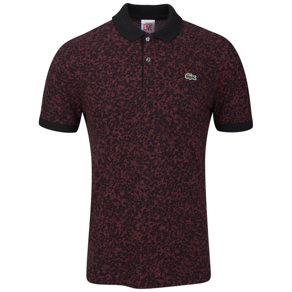 Lyst lacoste mens camo print polo shirt in black for men for Camo polo shirts for men
