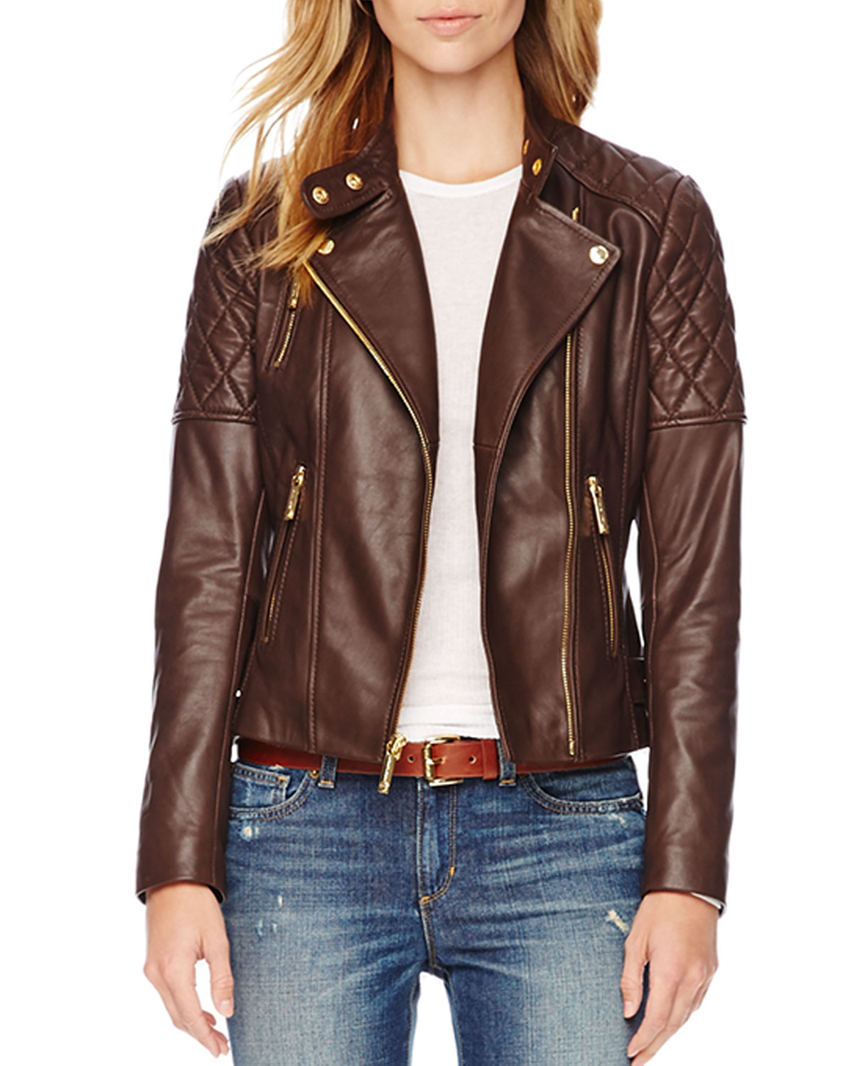 michael michael kors quilted leather jacket in brown chocolate lyst. Black Bedroom Furniture Sets. Home Design Ideas