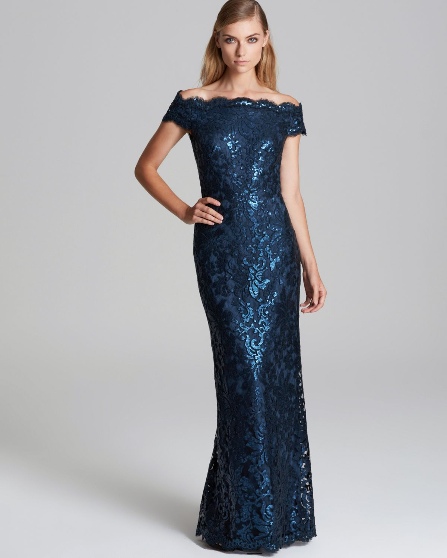 Tadashi Shoji Offshoulder Metallic Lace Gown in Blue - Lyst