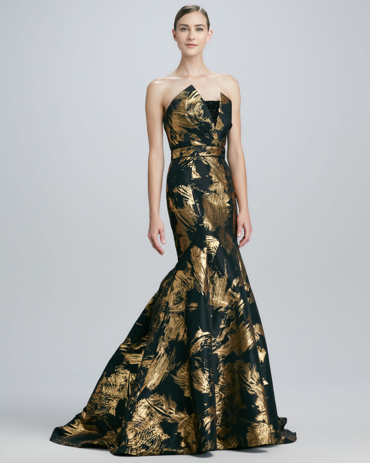 Theia Strapless Mermaid Gown In Black