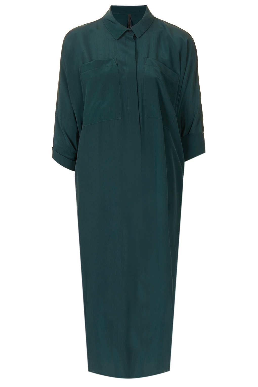 Topshop Midi Silk Shirt Dress In Dark Green Green Lyst