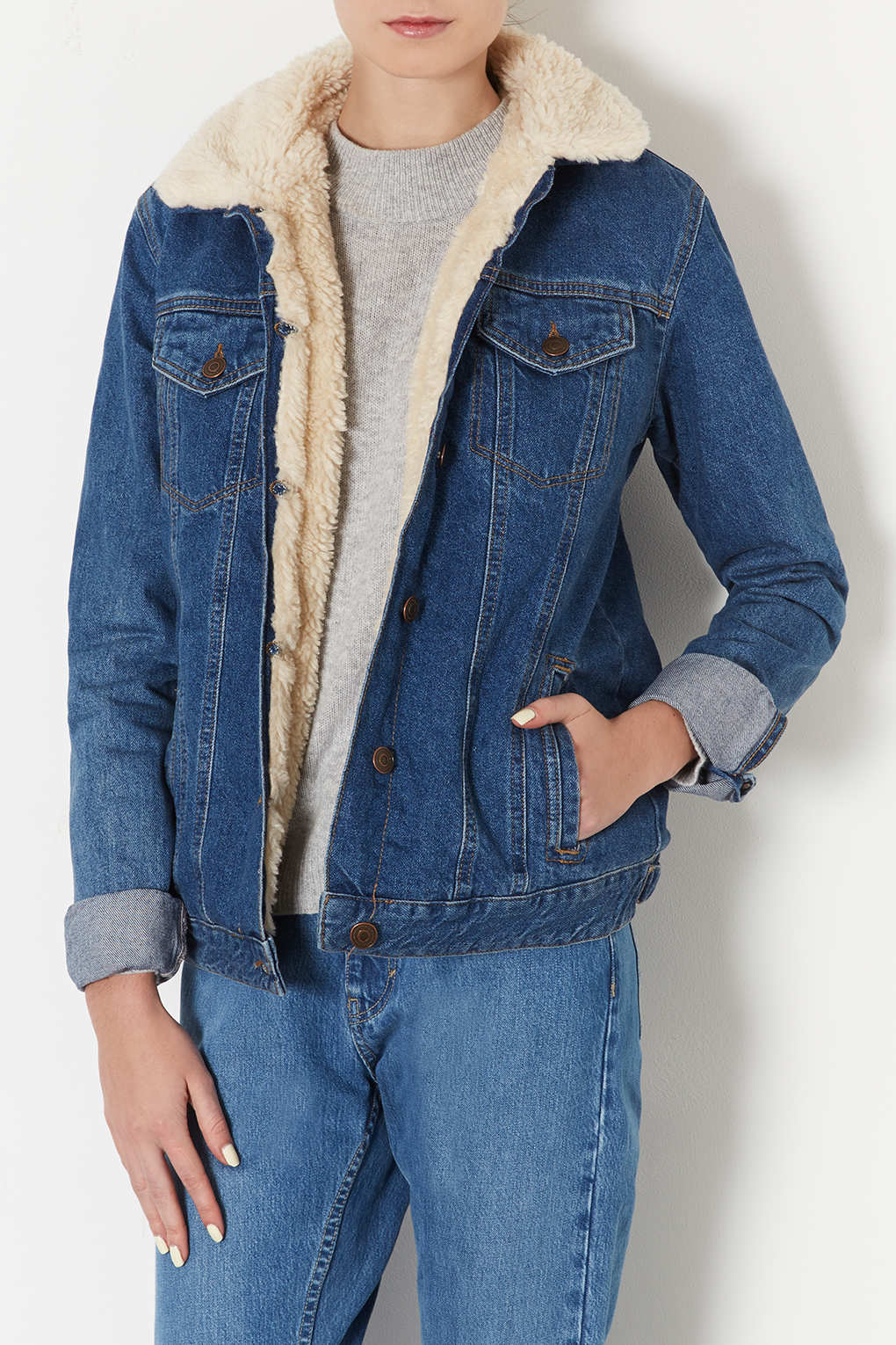 lowest discount shopping delicate colors TOPSHOP Tall Moto Vintage Borg Denim Jacket in Mid Stone (Blue) - Lyst