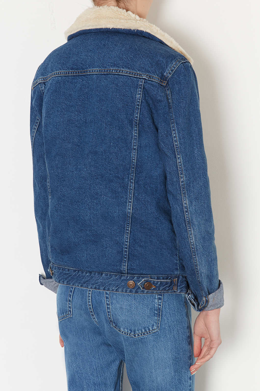 Lyst Topshop Tall Moto Vintage Borg Denim Jacket In Blue