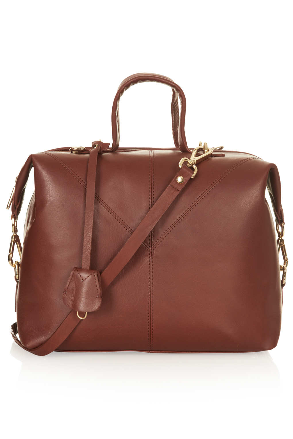 Lyst Topshop Large Leather Doctors Bag In Brown