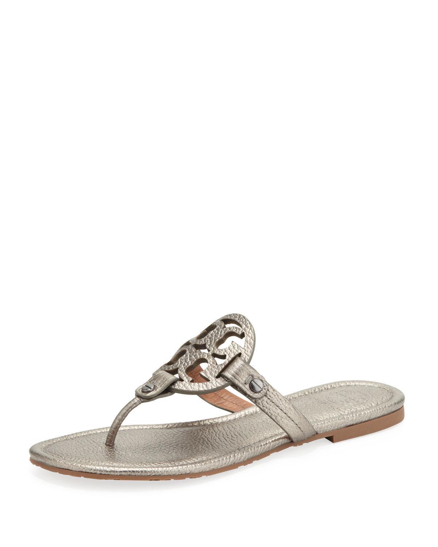 Tory Burch Miller Metallic Logo Thong Sandal In Pewter