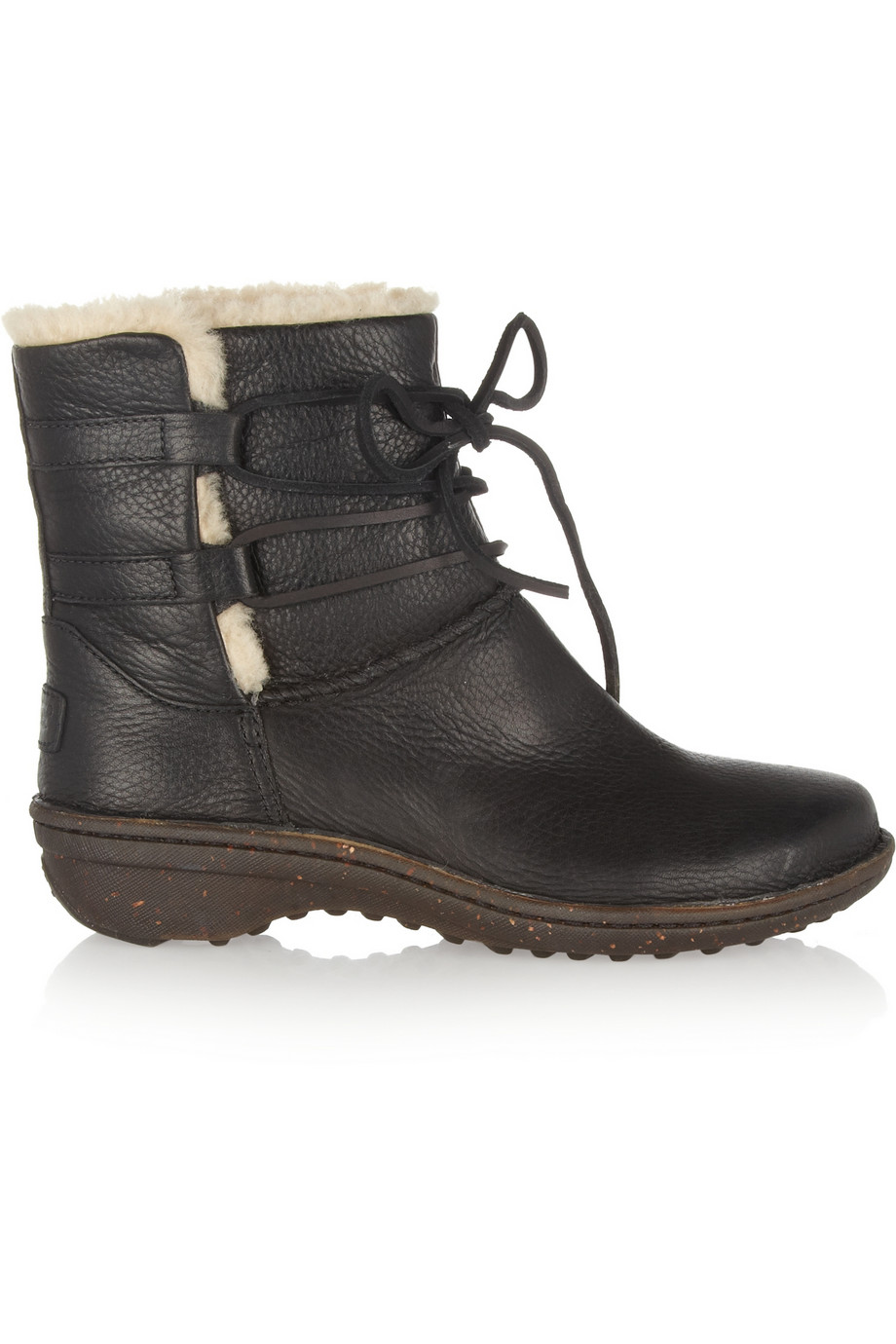 769dcf0ae9a UGG Caspia Lace-Up Leather Ankle Boots in Black - Lyst