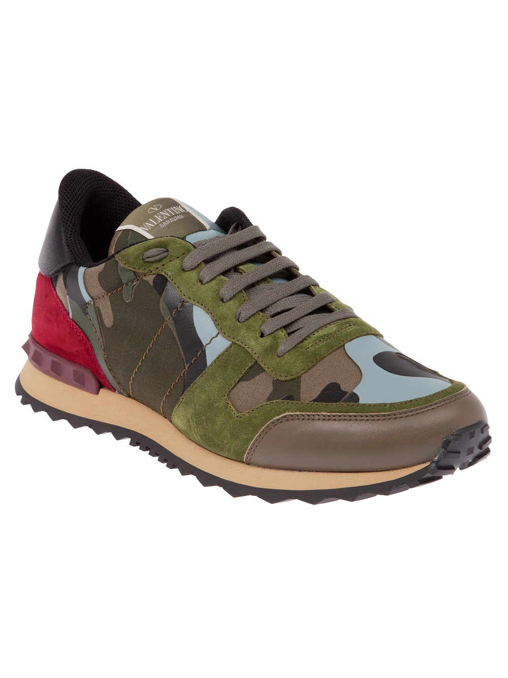 valentino camouflage panel sneaker in green for men lyst. Black Bedroom Furniture Sets. Home Design Ideas