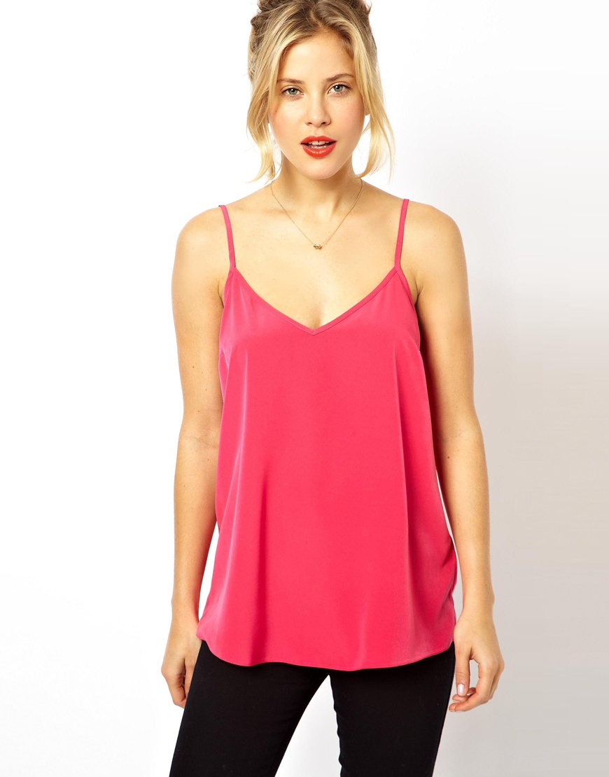 fcd5d05215f Lyst - ASOS Longline Woven Cami Top in Pink