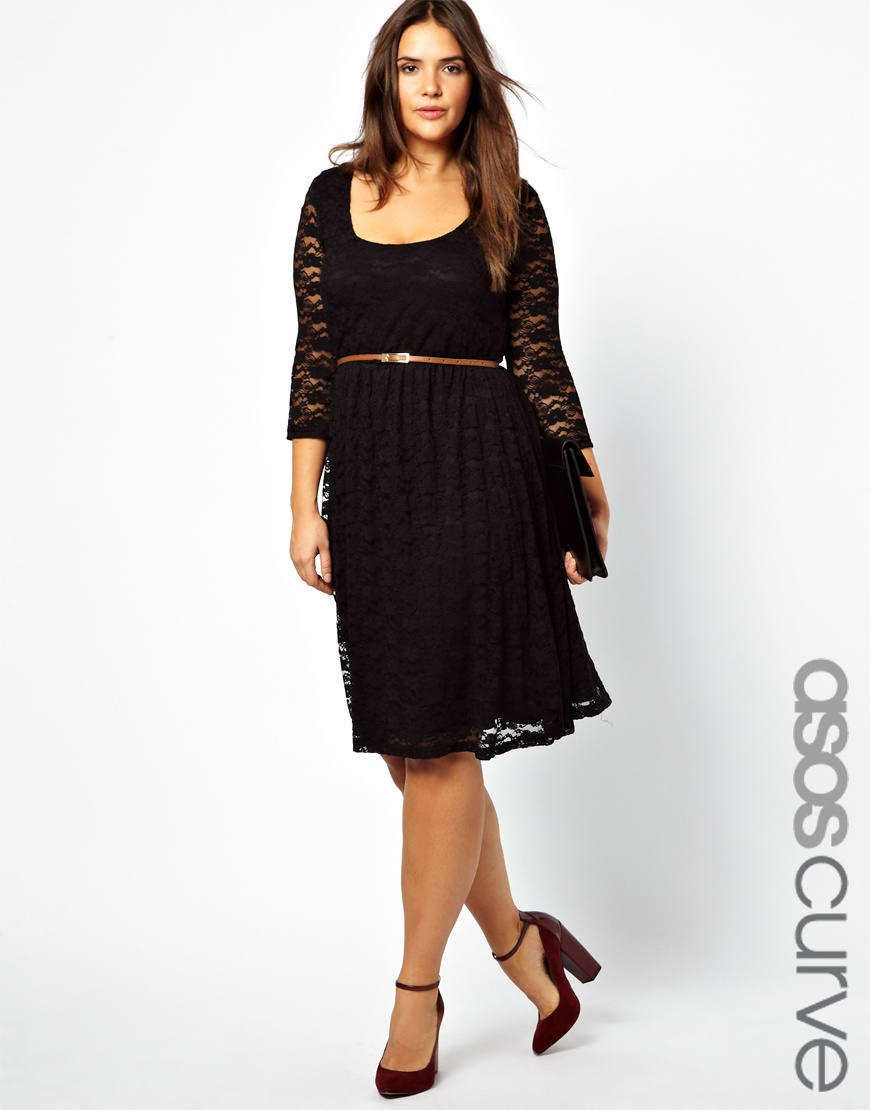 asos exclusive midi dress in lace with belt in black lyst