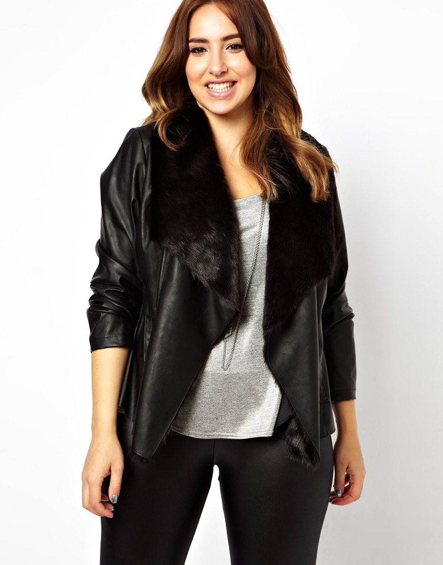 Lyst Asos New Look Inspire Leather Look Fur Lined Waterfall Jacket