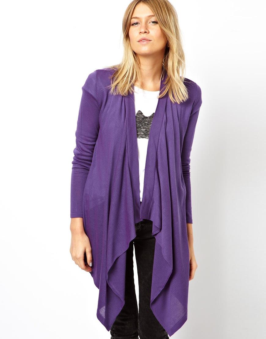 Asos Waterfall Cardigan in Purple | Lyst