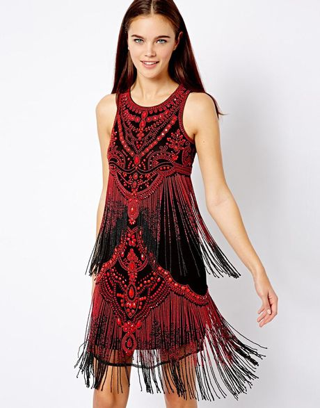 Asos River Island Beaded Fringe Dress In Red Redblack