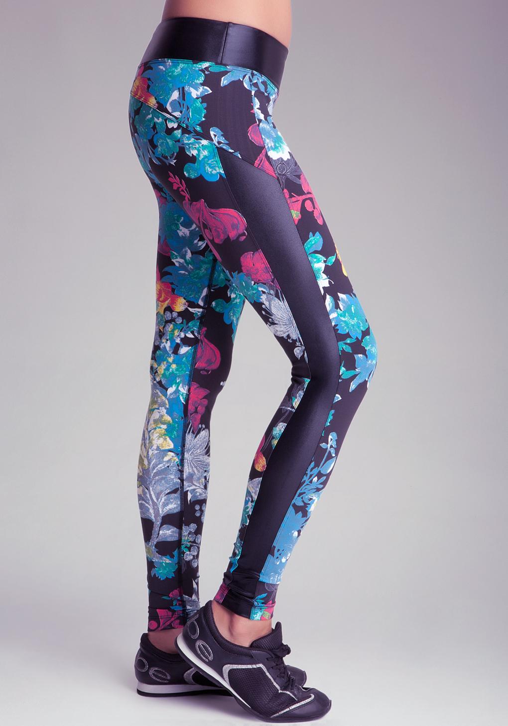 0f19cf7347e3 Lyst - Bebe Mesh Inset Printed Legging