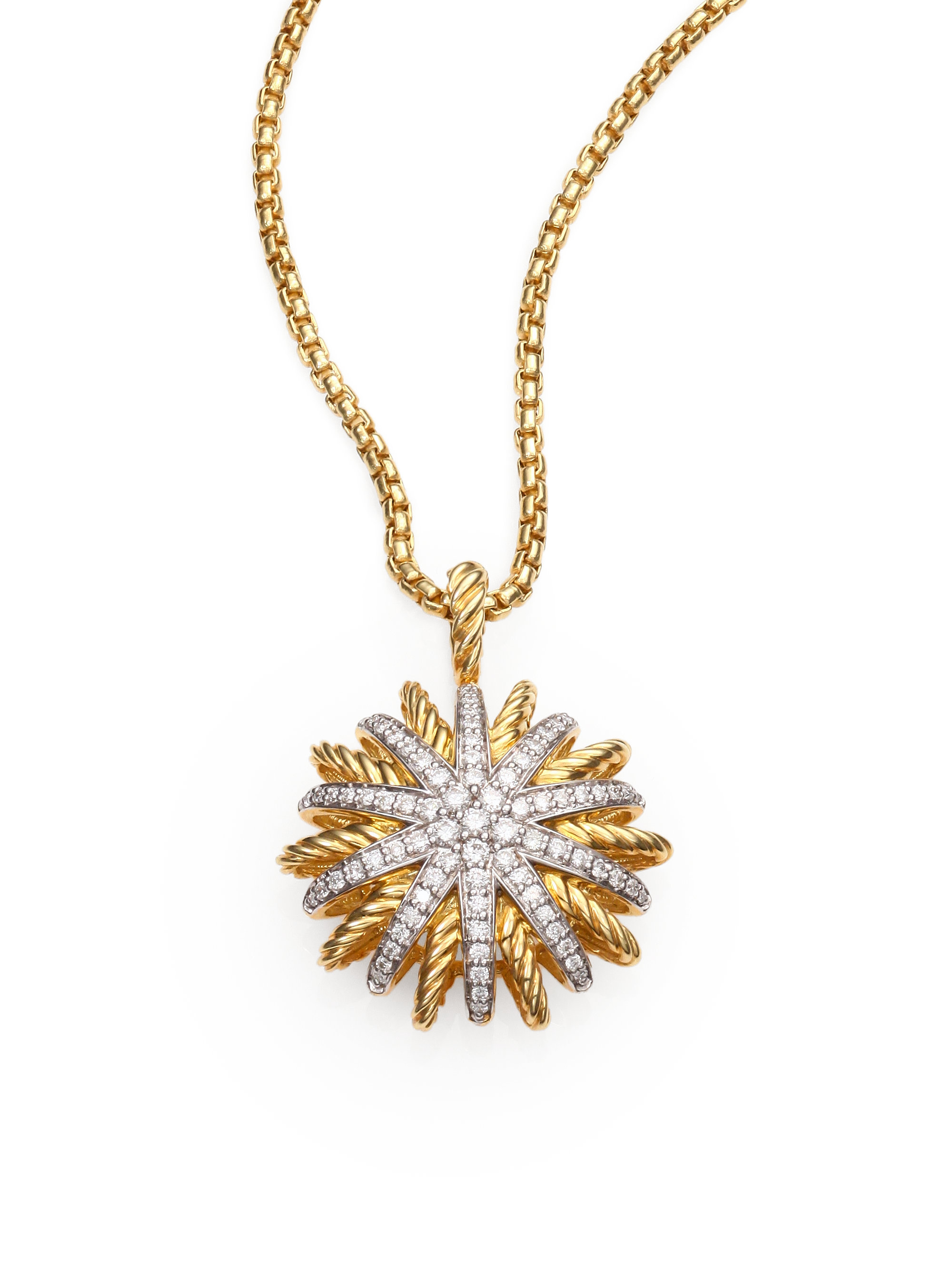 David Yurman Diamond 18k Gold Starburst Pendant Necklace