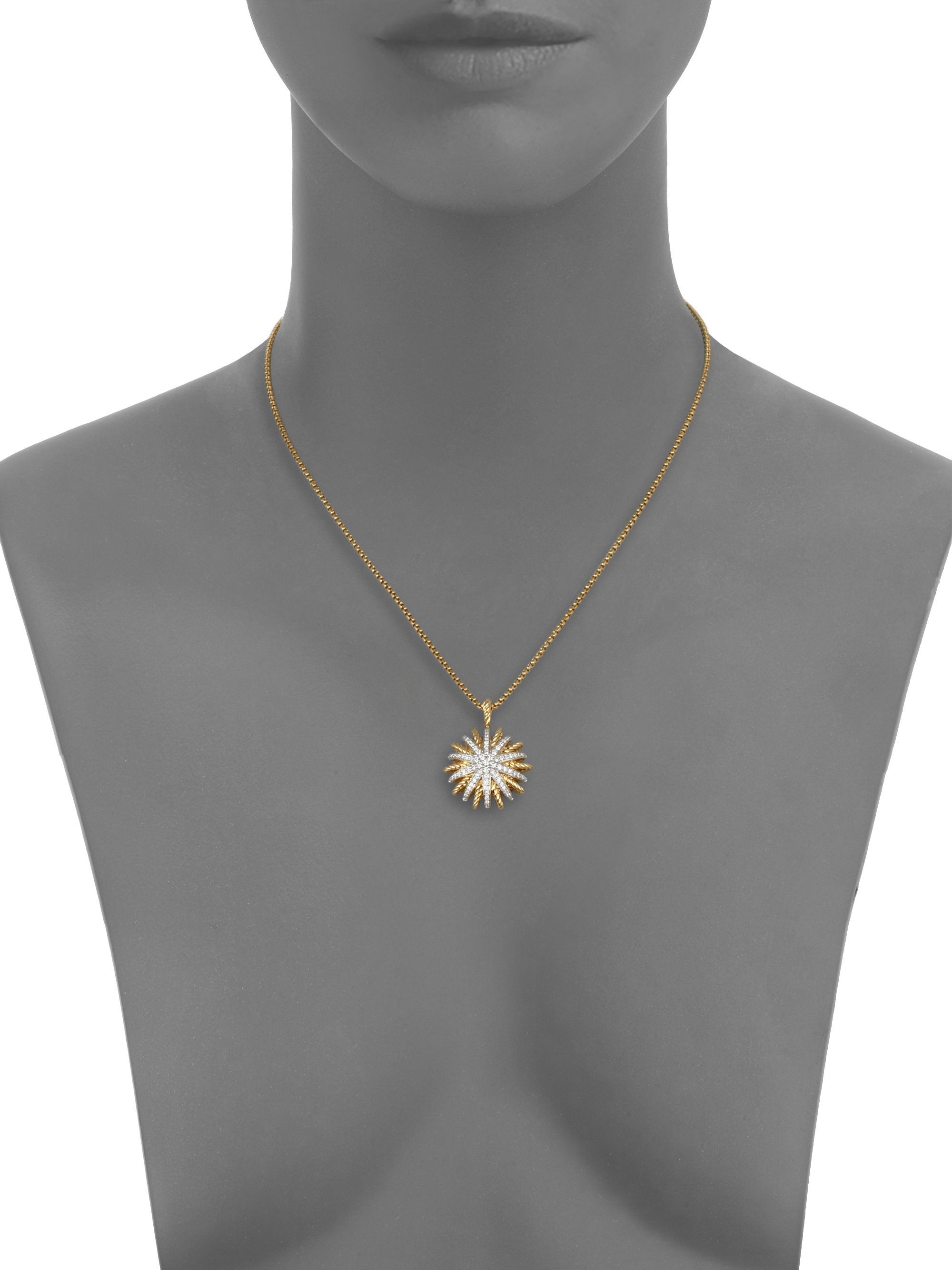 Lyst david yurman starburst medium pendant with diamonds on gallery mozeypictures Images