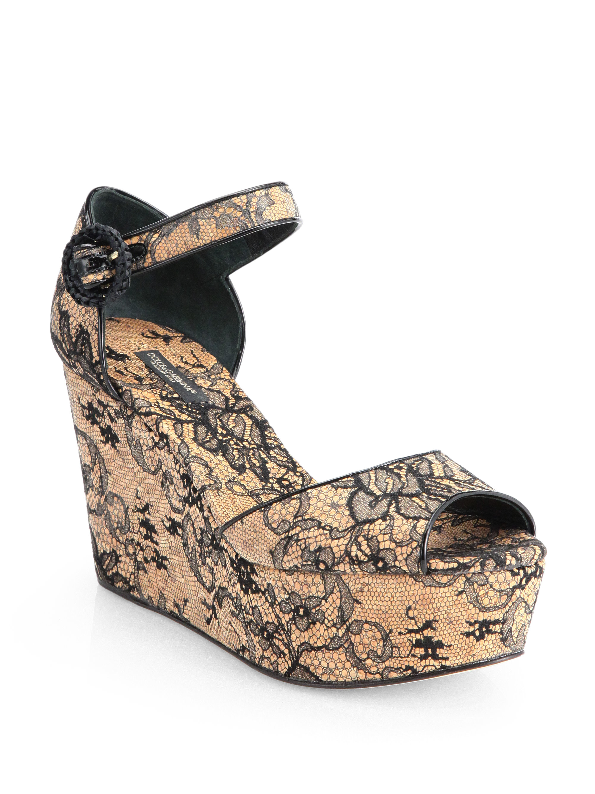 Dolce Amp Gabbana Cork Lace Wedge Sandals In Beige Black